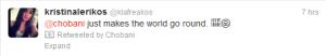 Chobani retweeting a fan's compliment